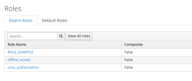 The image shows the view of all roles in Keycloak from Keycloak Admin Console.