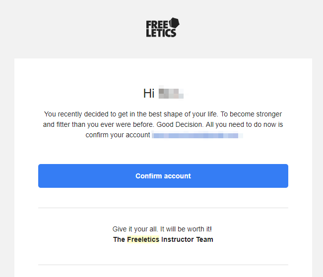 Freeletics Account Confirmation email