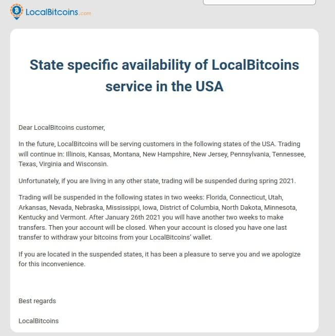 LocalBitcoins announcement disclosing the 10 states they will continue doing business in