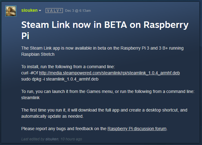 Valve Lets Raspberry Pi Take Over Where the Steam Link Left Off