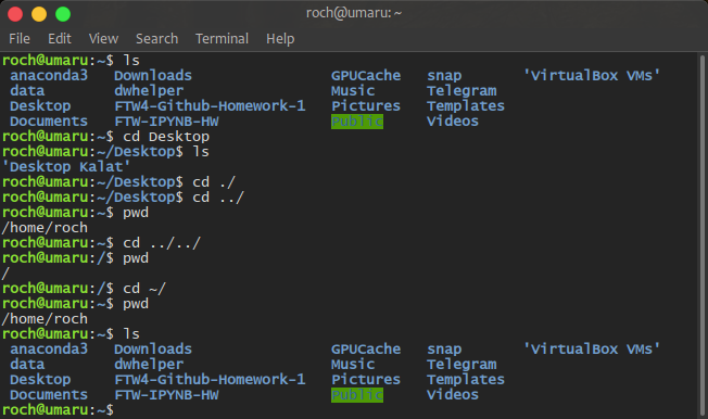 A screenshot of the Linux terminal showing some navigation commands.