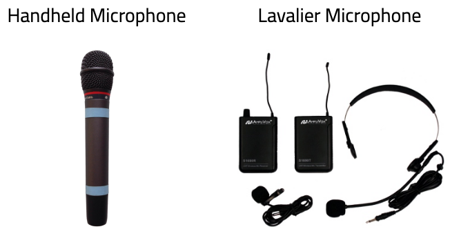 A handheld microphone and a lavalier with two battery packs and a headset.