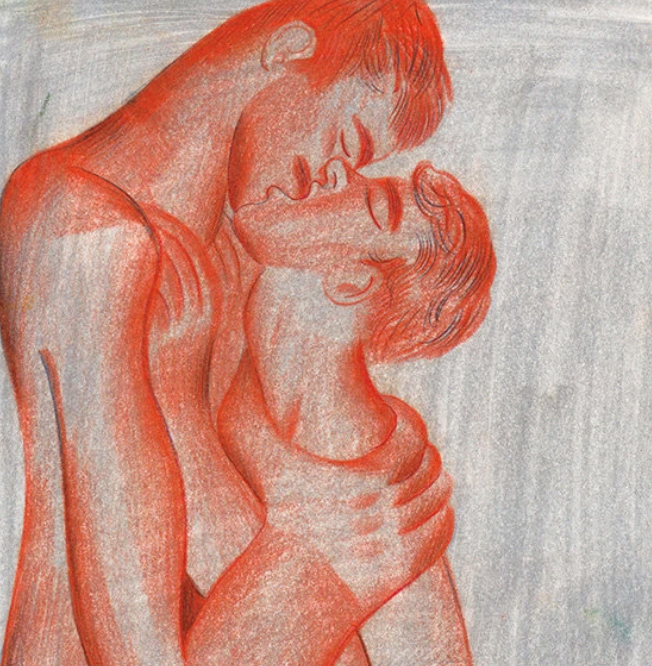 "two male lovers embracing in Louis Fratino's ""Tangerine"""