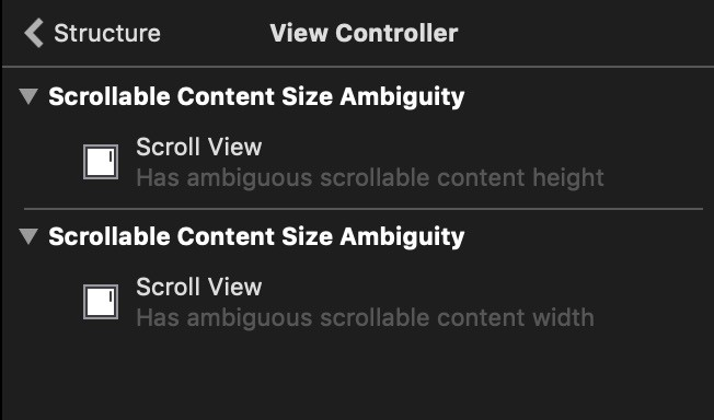 Xcode warnings about ambiguous content size