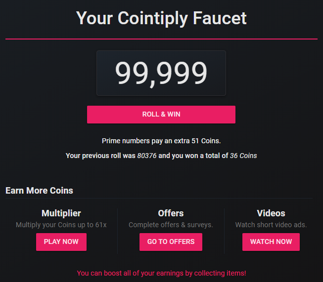 Cointiply faucet where you roll for free coins