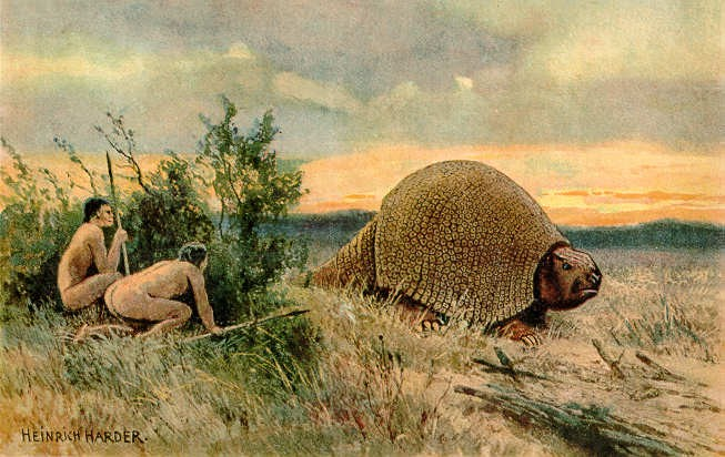 A painting depicting the artist's impression of two Paleolithic hunters hiding behind a bush as a glyptodon walks by.