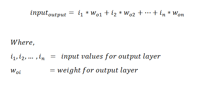 Figure 34: Formula representing the output of our hidden layer, with the weight of the output layer.
