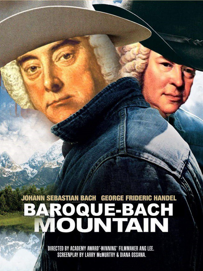 """Jack and Ennis from the movie """"Broke Back Mountain"""" wearing Bach wigs under their cowboy hats."""