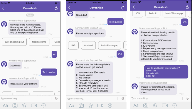 Building an iOS Chatbot with Dialogflow and Kommunicate