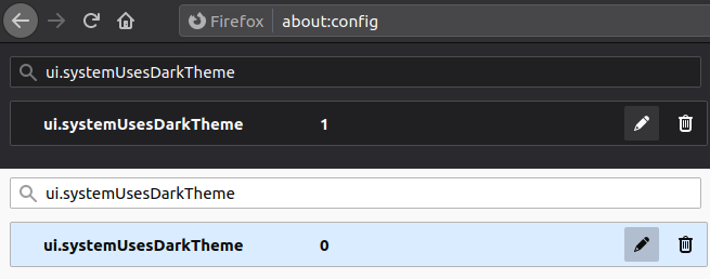 A screenshot of setting the color theme in Firefox