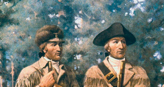Meriwether Lewis and William Clark in mural at Montana State Capitol