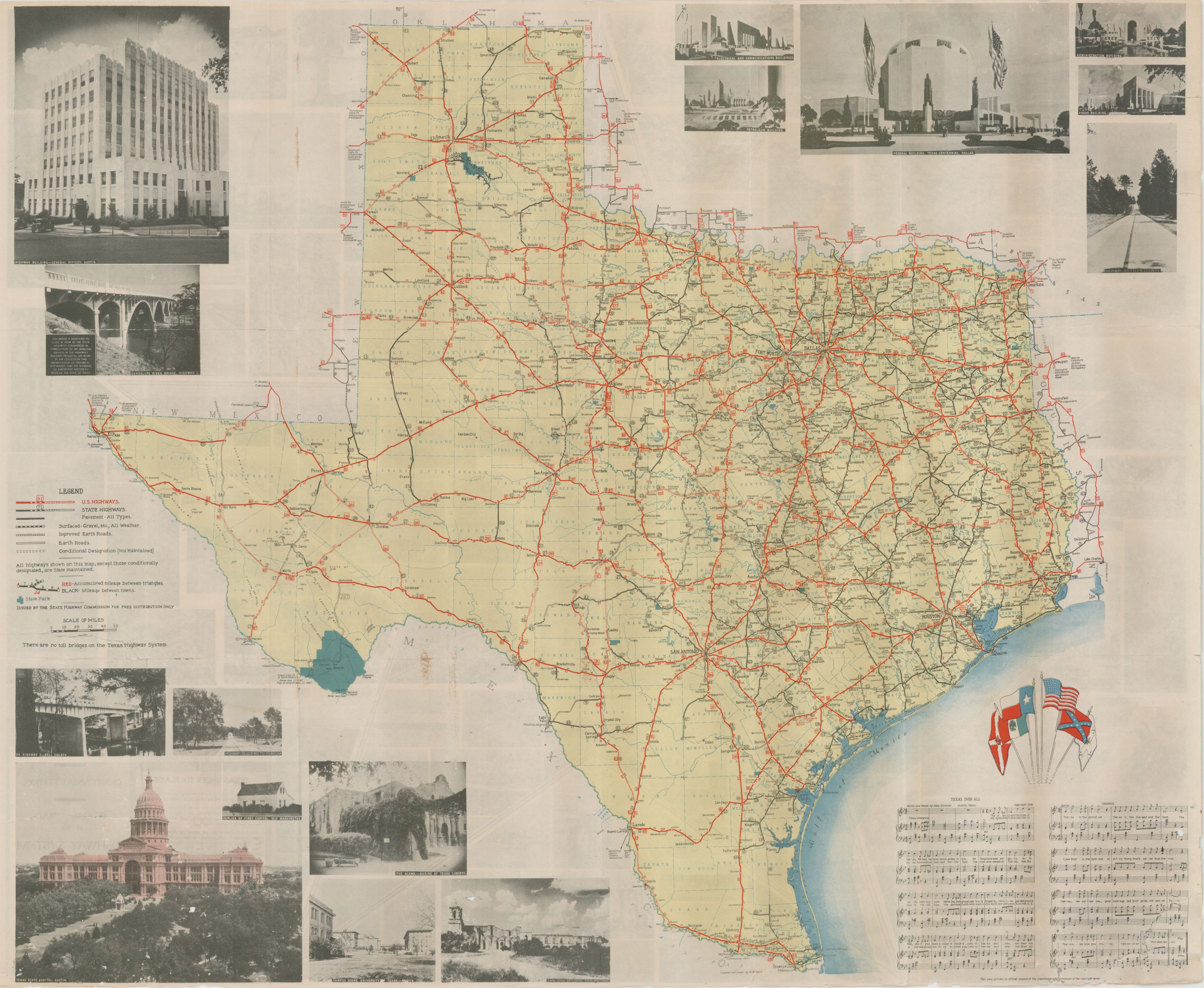 Official Map Of The Highway System Of Texas 1936 Save Texas