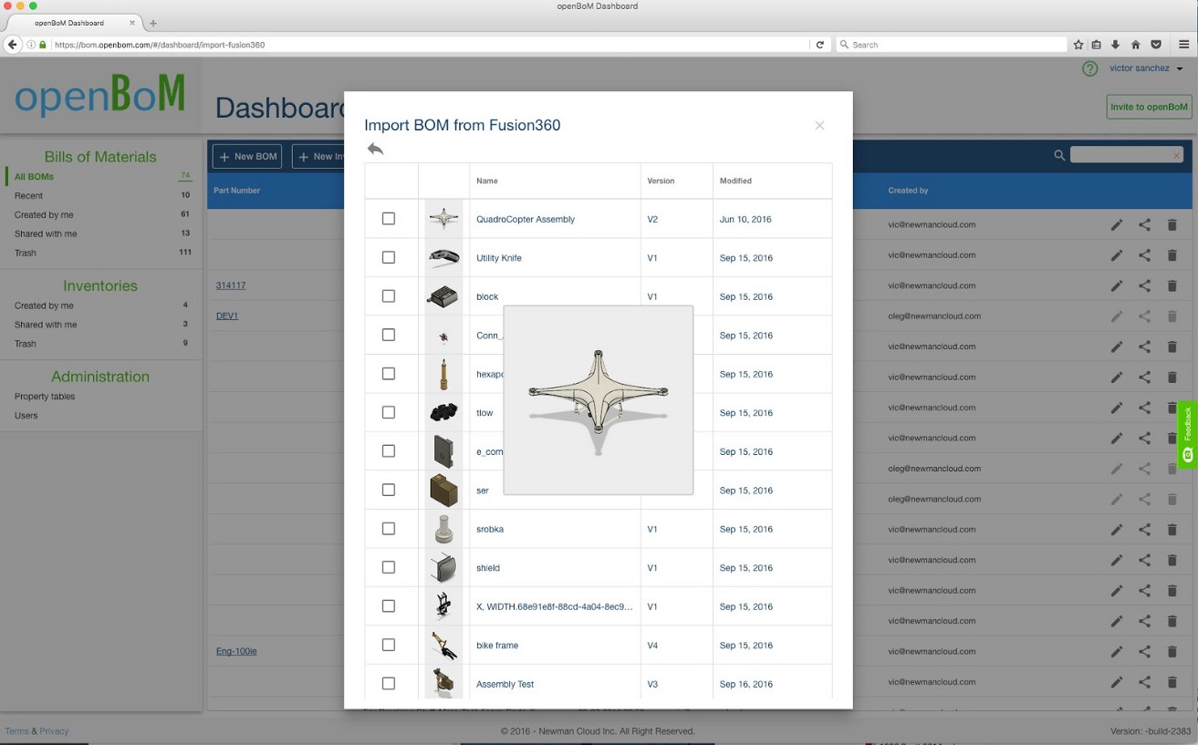 openBoM — Autodesk Fusion 360 integration and Forge API support