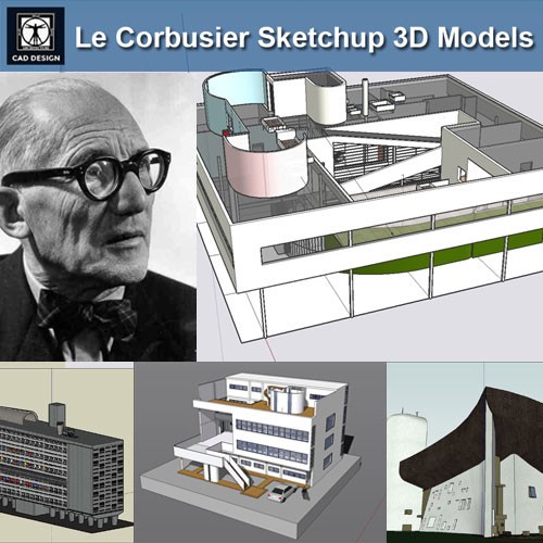 24 Types of Le Corbusier Architecture Sketchup 3D Models