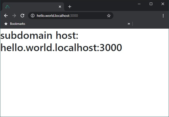 Browser screenshot demonstrating subdomain page rendering