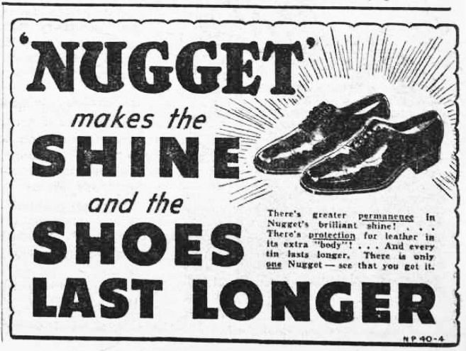 An old advertisement for show cream that makes the shine and shoes last longer.