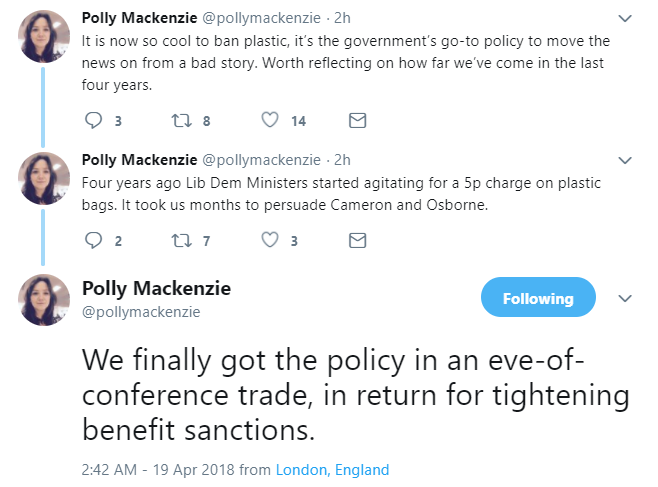Some tweets about the plastic bag charge and benefit sanctions