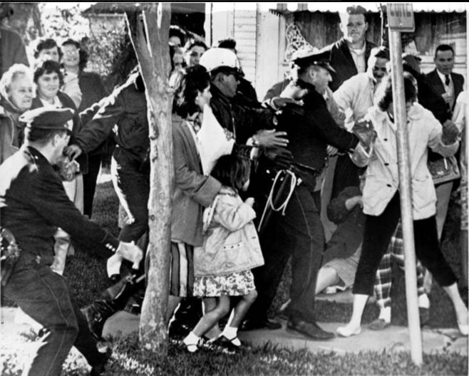 The 1960 desegregation protests in the Ninth Ward. The venom was equal for black and white children and their parents.