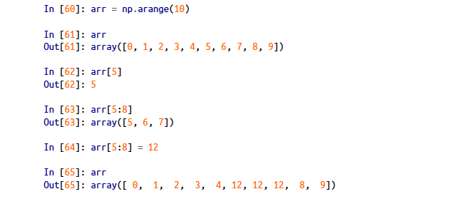 Indexing in a 1-dimensional numpy array