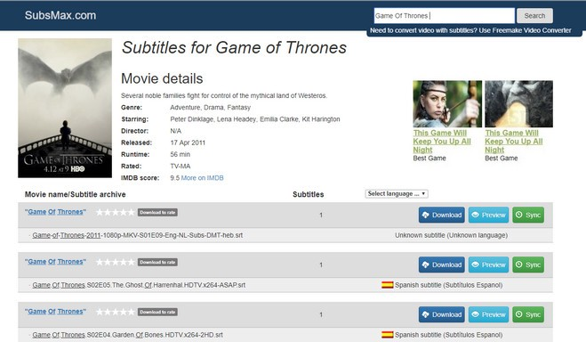How to Download and Add Subtitles to Game of Thrones Episodes