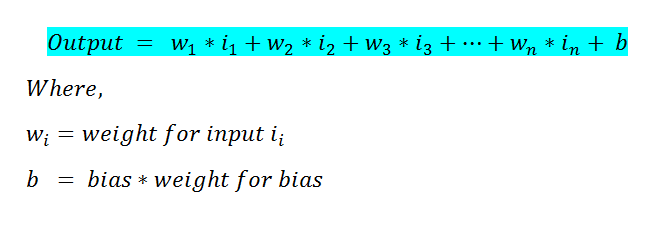 Figure 11: Formula to calculate the neural net's output
