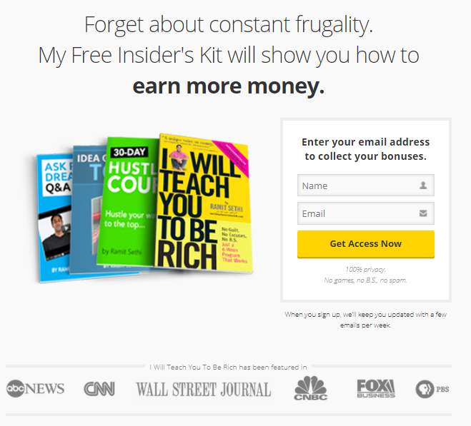 I Will Teach You How To Be Rich Free tools page