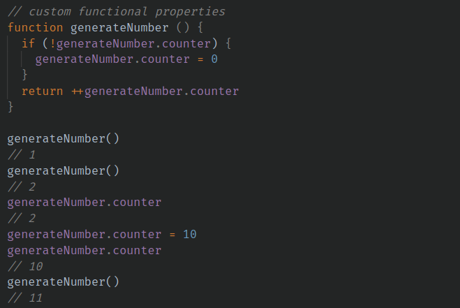 generateNumber function with counter property