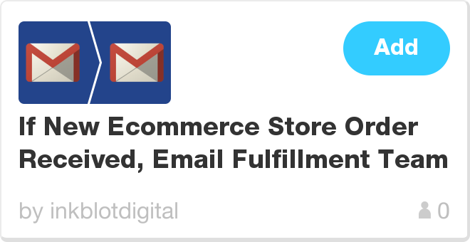 IFTTT Recipe: If New Ecommerce Store Order Received, Email Fulfillment Team connects gmail to gmail