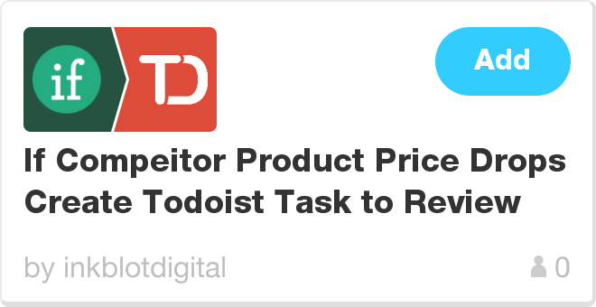 IFTTT Recipe: If Compeitor Product Price Drops Create Todoist Task to Review connects trackif to todoist