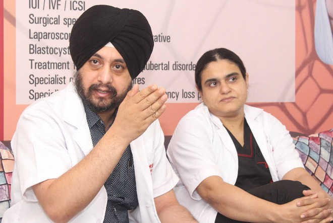Dr Jasmeet Singh Ahluwalia, bariatrics and advanced laparoscopic surgeon, addresses mediapersons in Jalandhar on Thursday. Photo: Sarabjit Singh