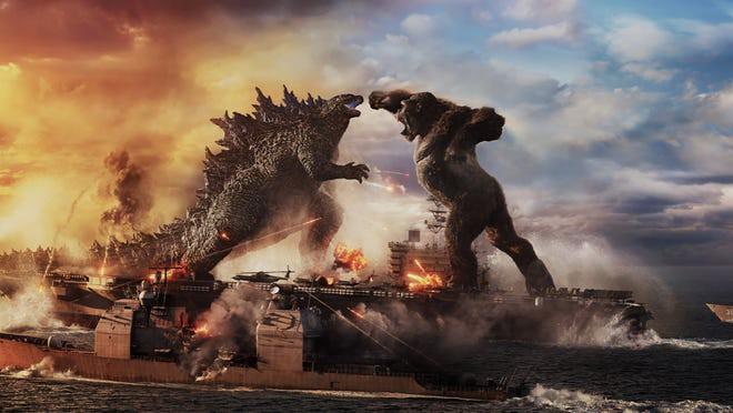 Godzilla fighting King Kong