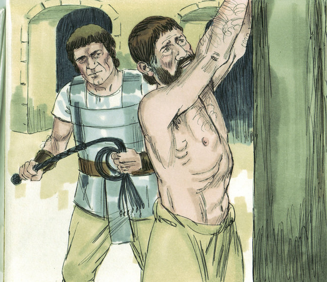 Biblical-esque illustration of a man about to whip another man with his arms restrained