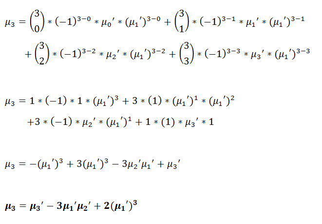 Figure 28: Third central moment in terms of raw moments. | Moment Generating Function for Probability Distribution with Pytho