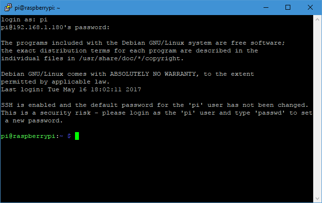 Successful Connection to the Raspberry Pi using SSH