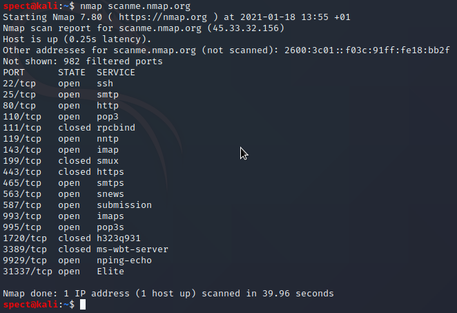 nmap default scan