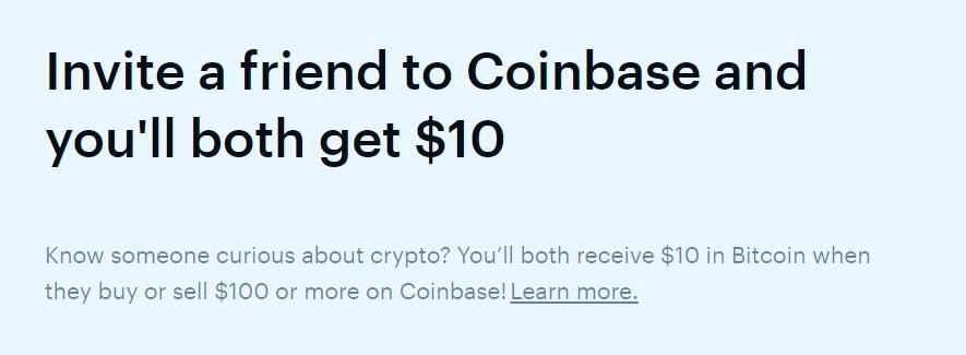 An offer for free bitcoin on Coinbase