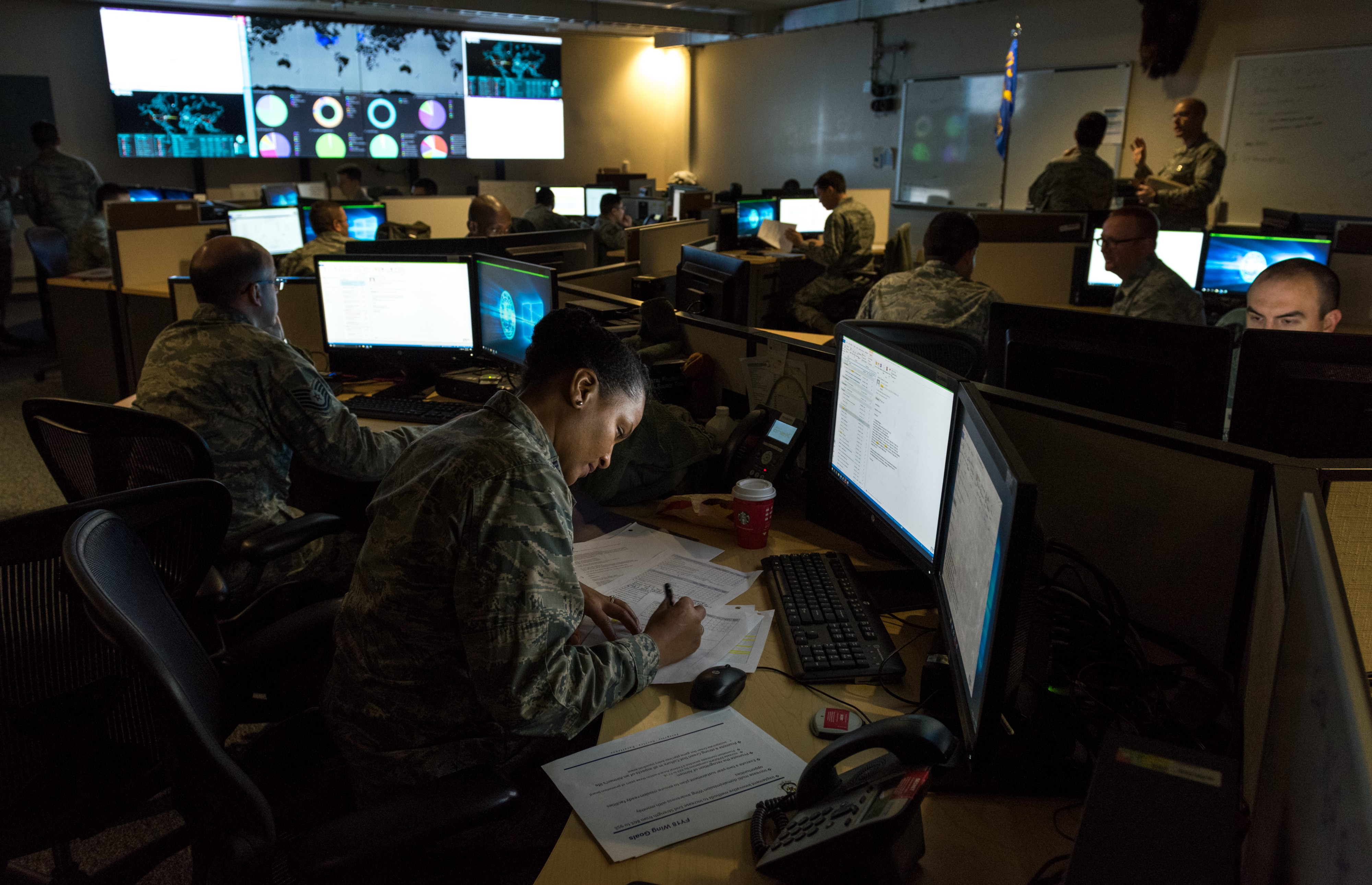 Cyber warfare operators monitor cyber attacks at Warfield Air National Guard Base, Middle River, MD, December 2, 2017. Photo by J.M. Eddins Jr./U.S. Air Force