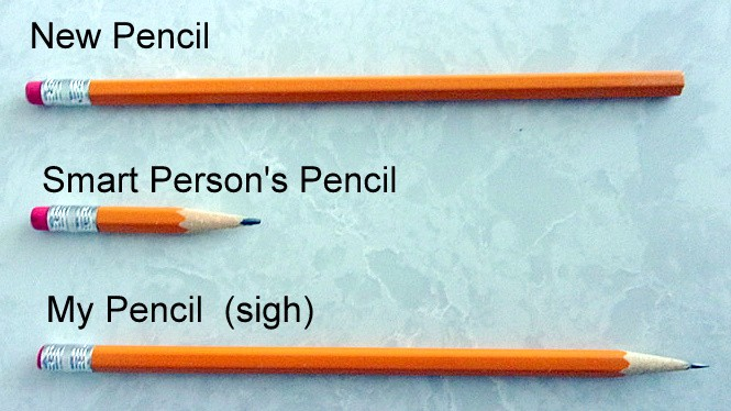 Three pencils laid in a row. A new pencil, and smart person's short pencil with a large eraser left, and a long pencil with no eraser left.