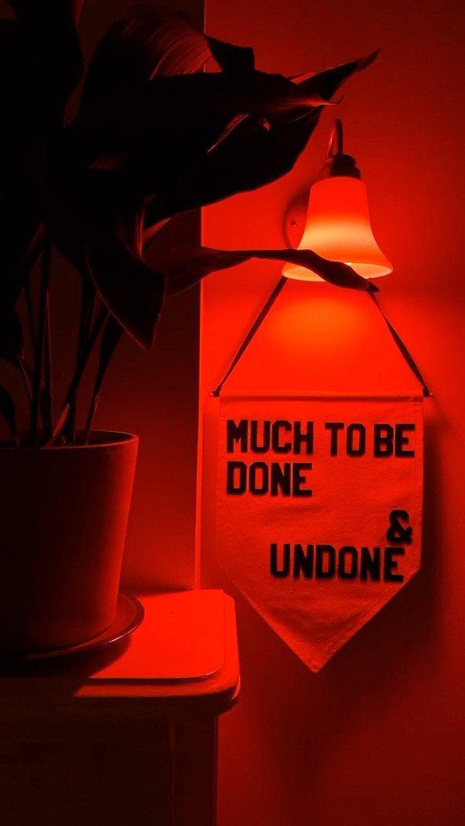 "banner reading ""much to be done & undone by @rayoandhoney hangs from a sconce with an orange bulb next to a plant."