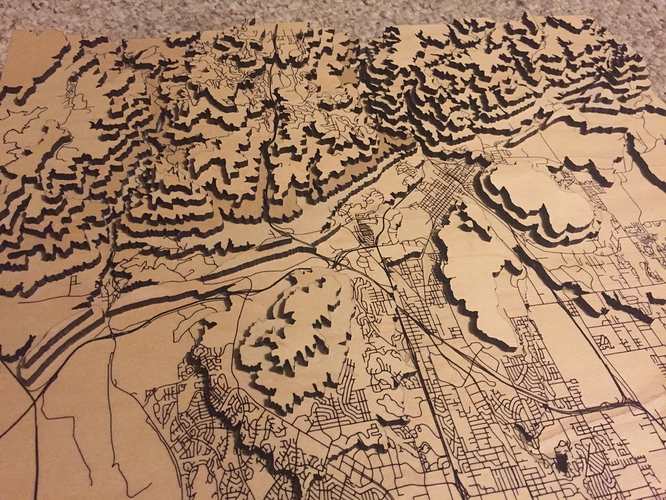 3D laser printing maps in Glowforge - Points of interest