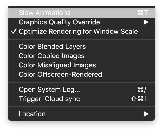 Disabling Slow Animations in the iOS Simulator - Brian
