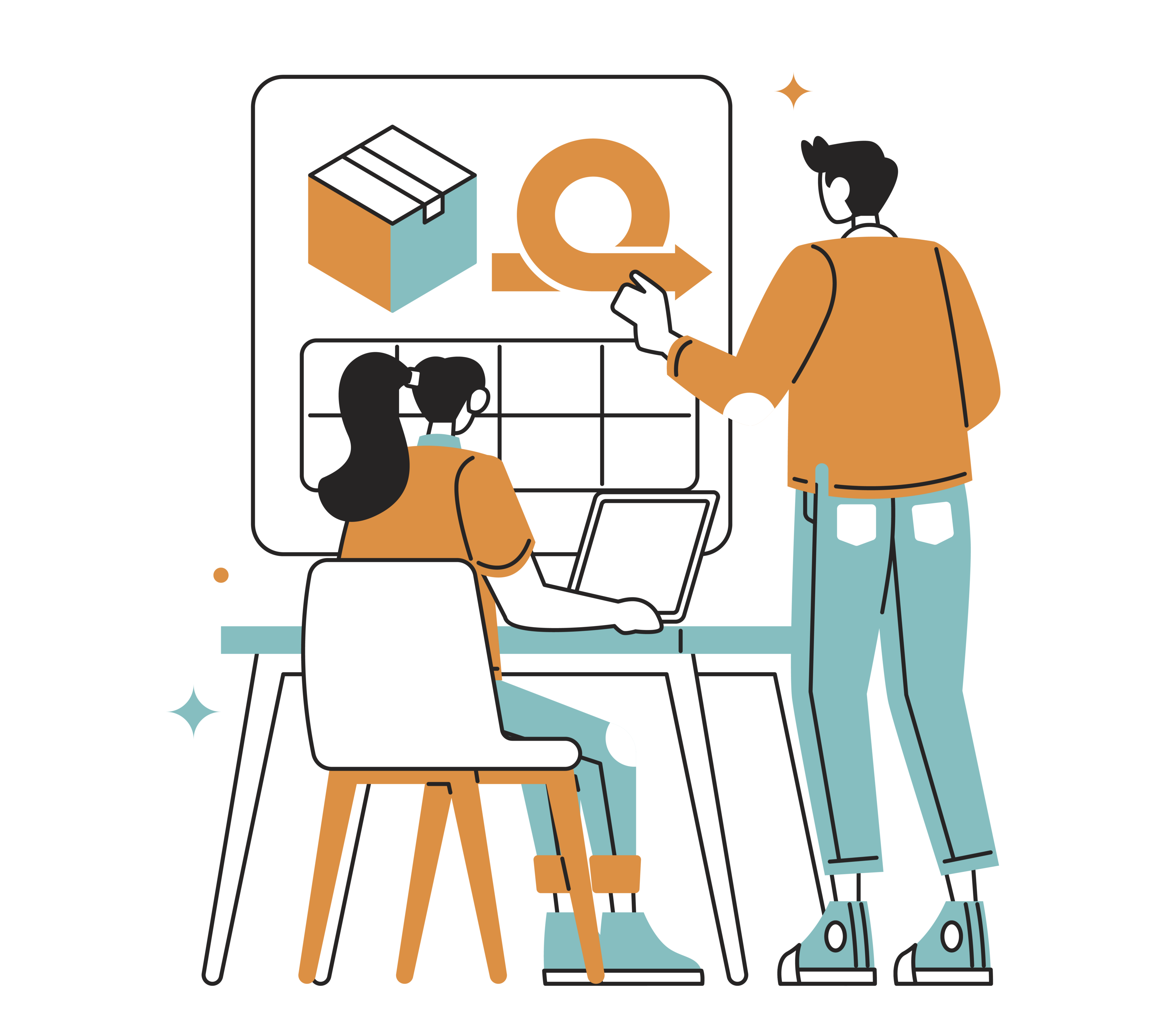 An illustration depicting a team of coworkers planning on a project