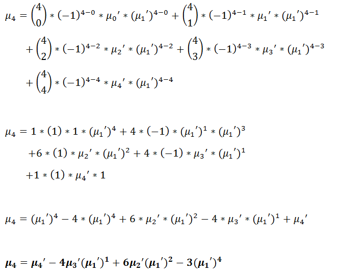 Figure 29: Fourth central moment in terms of the raw moments. | Moment Generating Function for Probability Distribution with