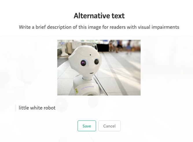 screenshot of an image on Medium in a story once you have selected the alt text option stating: write a brief description