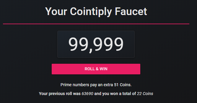 Cointiply faucet—roll for coins