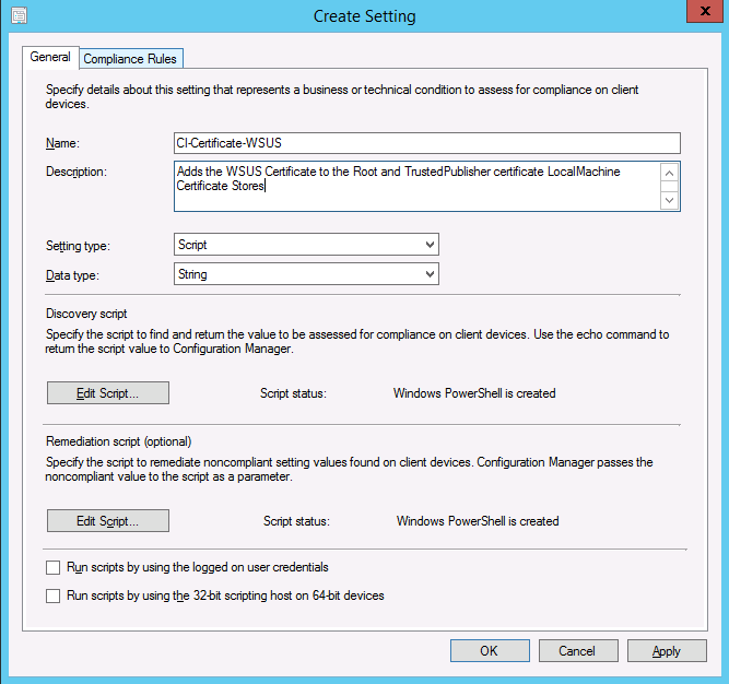 Installing a Certificate with SCCM using Configuration Items