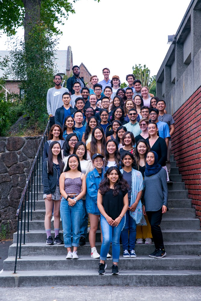 A group of around 40 young adults pose for a group photo.