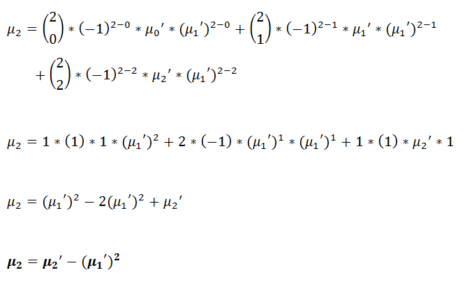 Figure 27: Second central moment in terms of raw moments. | Moment Generating Function for Probability Distribution with Pyth