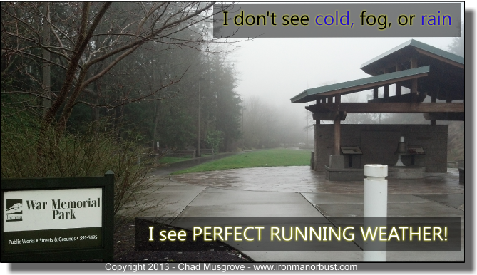 Chad's picture of perfect running weather — getting in shape for a triathlon.