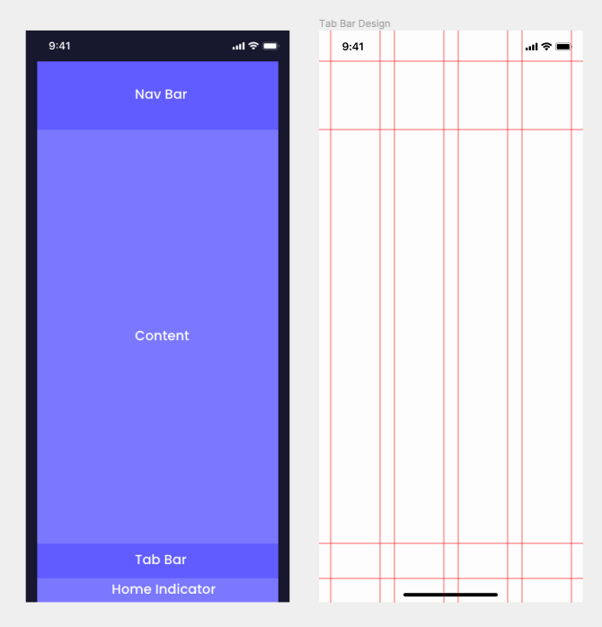 Two screens side-by-side depicting where to place UI elements and guides/rulers for several iPhone devices.